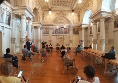 Spoleto, sala XX settembre: conferenza stampa con il Commissario Legnini, il coordinatore Nodessi e il sindaco de Augustinis