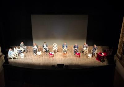 Spoleto, palco Teatro Nuovo con tutti i relatori