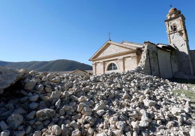 Chiesa di Sant'Antonio e mura urbiche dopo sisma 2016