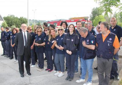 Visita del Presidente della Repubblica Sergio Mattarella - Alfiero Moretti con lo staff della Protezione Civile